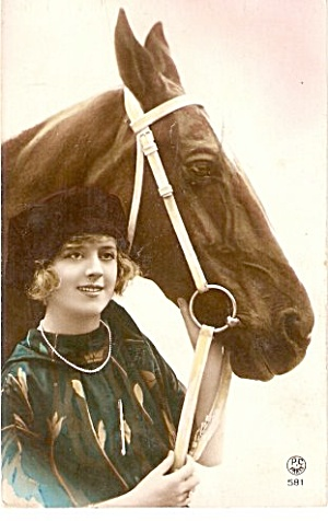 1907 Girl with Horse Studio Postcard (Image1)