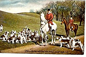 Tucks Fox Hunt With Dogs, Horses 1907 Postcard