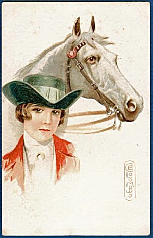 1907 E Colombo Signed Girl & Horse Postcard (Image1)