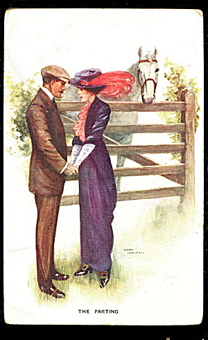 1909 Mary Horsfall 'the Parting' With Horse Postcard