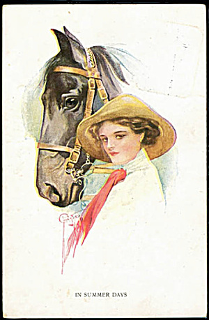 1911 Court Barber 'in Summer Days' Horse Postcard