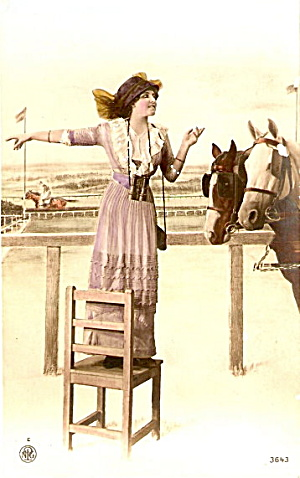 Girl Talking to Horses 1907 Postcard (Image1)