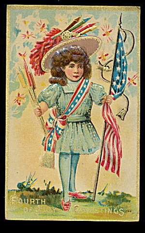 Fourth of July Girl Carrying Rockets & Flag Postcard (Image1)