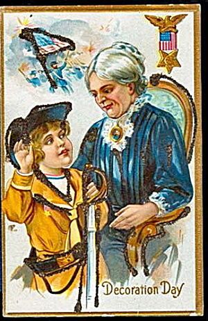 Decoration Day Boy with Mother 1907 Postcard (Image1)