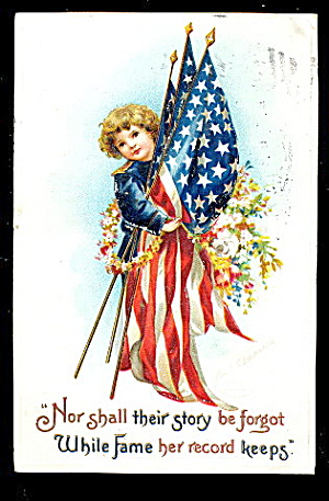 Ellen Clapsaddle Boy Fame Patriotic 1907 Postcard