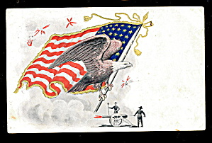 1910 Flag With Eagle Patriotic & Military Postcard