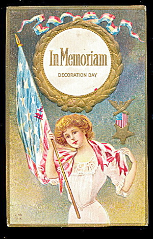 Decoration Day Girl 'in Memoriam' 1907 Postcard