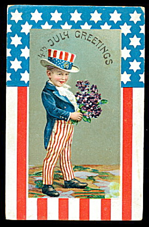 4th of July Greetings Boy in Patriotic Suit Postcard (Image1)