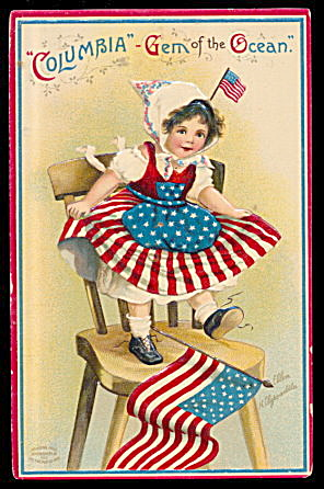 Ellen Clapsaddle July 4th Girl Columbia Postcard