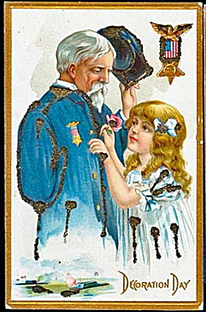 Decoration Day Girl with Soldier 1907 Postcard (Image1)