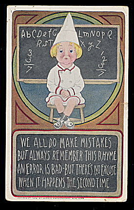 1912 'We All Make Mistakes..' Child Postcard (Image1)