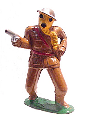 Barclay Lead Soldier - (B128) 778 Officer With Gas Mask