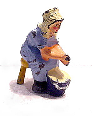 Johillco Lead Blue Milk Maid On Stool