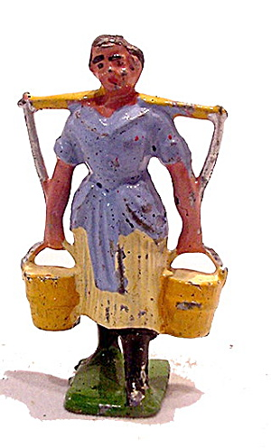 Timpo Farmer Woman With Yoke - 1920s Lead