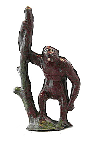 1920s Lead Crescent Gorilla With Tree