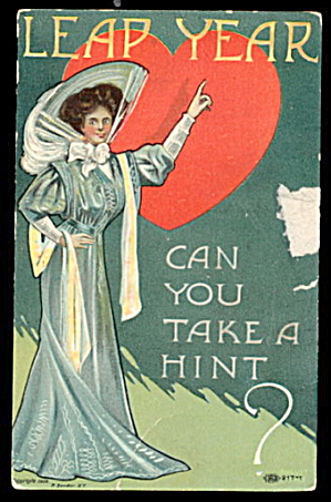 1908 Girl in Hat August Leap Year Postcard (Image1)