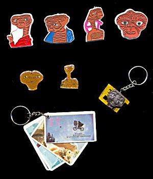 Large Lot of 1980s E.T. Pins & Key Chains (Image1)