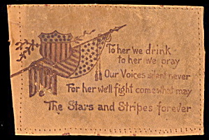 1906 Patrotic 'to Her We Drink..' Leather Postcard