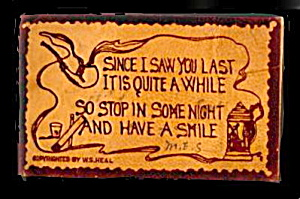 1906 'Since I Saw You Last...' Leather Postcard (Image1)