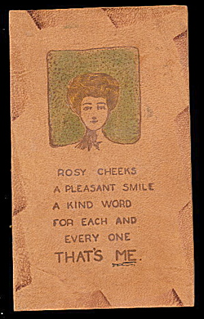 Leather 1906 'Rosy Cheeks..' Greetings Postcard (Image1)