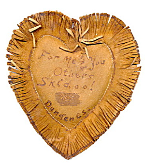 1906 Heart Shaped Leather Postcard - Great