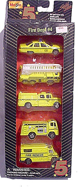 Maisto 5 Fire Department Vehicles Mint In Box