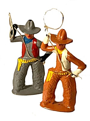 2 1930s Barclay Manoil Cowboys With Lassos