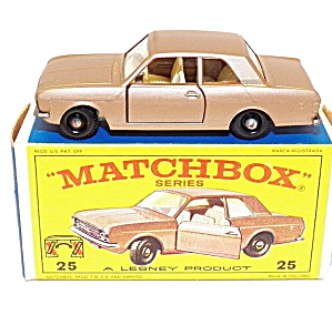 1960s Matchbox #25 Ford Cortina Near Mint In Box
