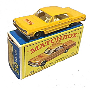 1960s Matchbox #20 Chevrolet Impala Taxi In Box