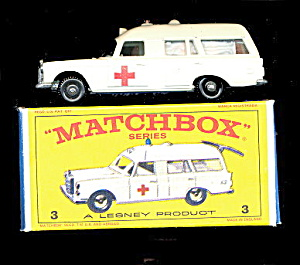 1960s Matchbox 3 Mercedes Benz Ambulance In Box