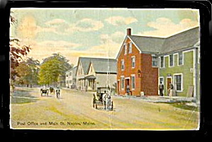 Naples, ME, Post Office and Main Street, 1907 Postcard (Image1)