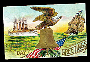 Memorial Day Greetings With Eagle 1907 Postcard