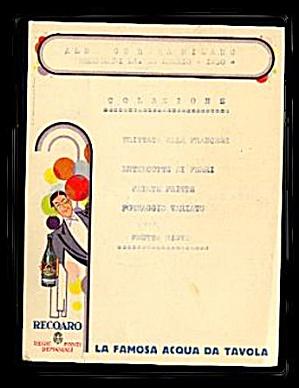 1930 La Mosa Acqua Da Tavola Restaurant Menu (Image1)
