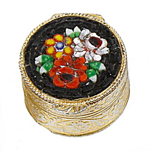 Vintage Black Mosaic Floral Pillbox - Italy