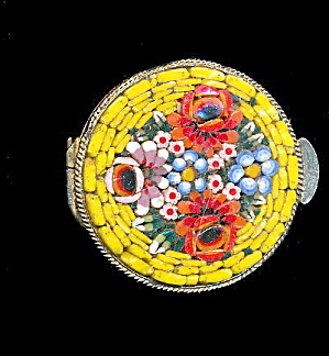 Vintage Yellow Mosaic Floral Pillbox - Italy