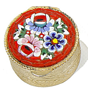 Vintage Red Mosaic Floral Pillbox - Italy