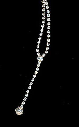 Lovely Dangle Clear/White Rhinestone Necklace (Image1)