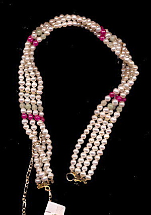 Vintage Faux Pearl Beaded Choker Necklace (Image1)
