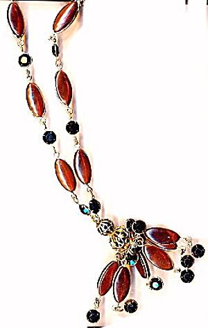 Lovely Caramel Glass Dangle Vintage Necklace (Image1)