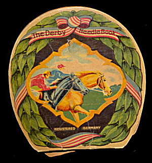 1910 Sewing 'the Derby Needle Book' With Horses