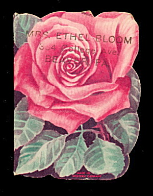 1940s Roses Diecut Wakefield, Ma Needle Book