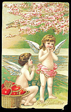 1914 Children Cherubs Valentines Day Postcard