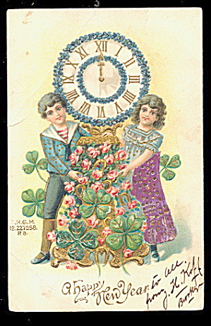Children With Clocks New Years 1908 Postcard