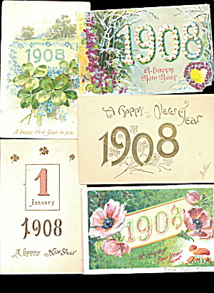 5 New Years Greetings 1908 Year Postcards