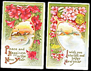 2 New Years Wishbones With Flowers 1907 Postcards