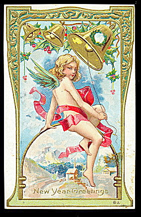 New Years Child Angel With Bells 1912 Postcard