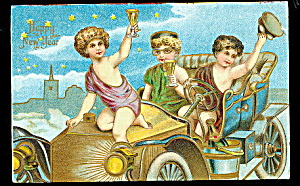 Cherubs In Automobile New Years 1907 Postcard