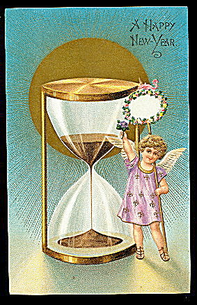1906 Child With Hour Glass New Years Postcard