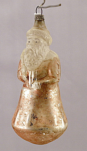 Early 1900s Santa Claus Bell Belsnickle Glass Ornament