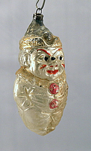 Early 1900s 'smiling Tom' Clown Glass Ornament